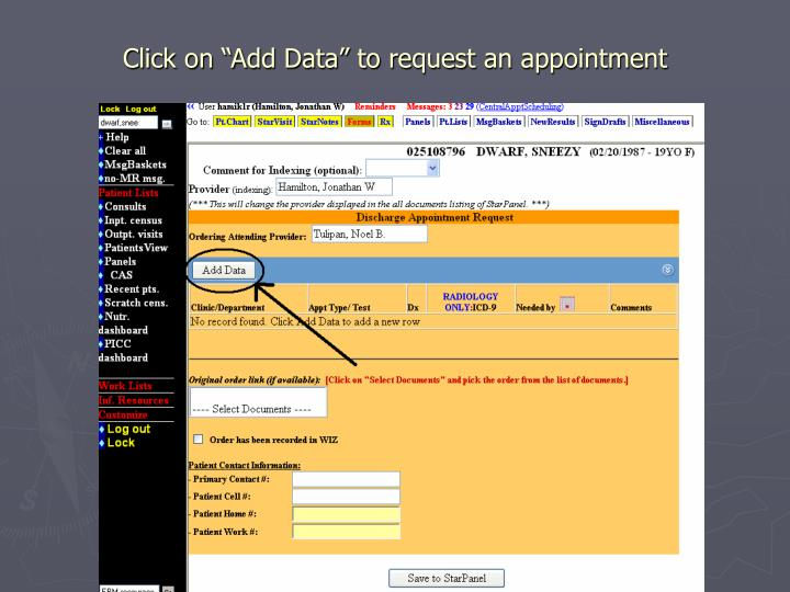 """Click on """"Add Data"""" to request an appointment"""