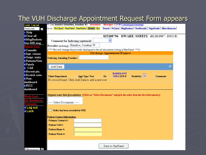 The VUH Discharge Appointment Request Form appears