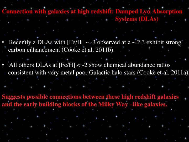 Connection with galaxies at high redshift: Damped Ly