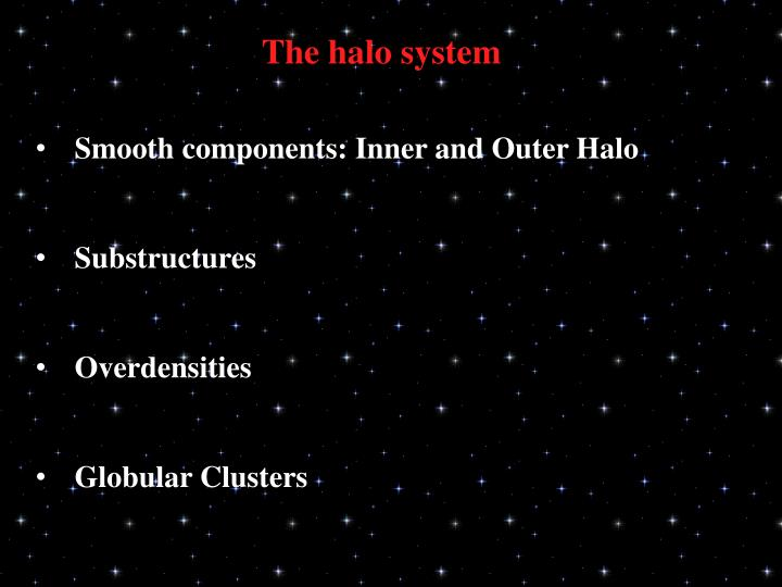 The halo system