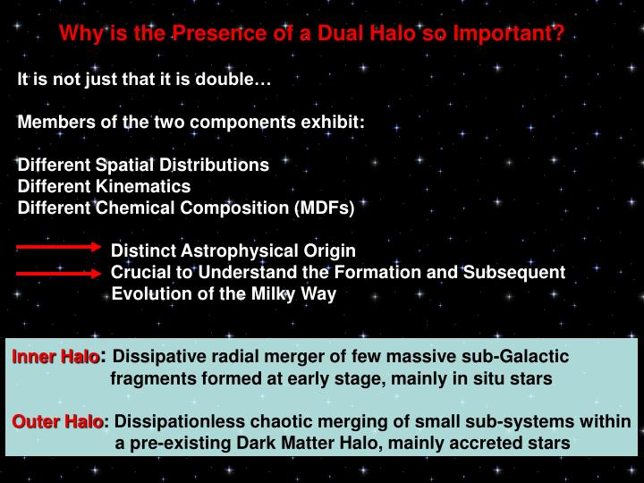 Why is the Presence of a Dual Halo so Important?