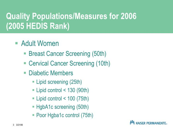 Quality populations measures for 2006 2005 hedis rank