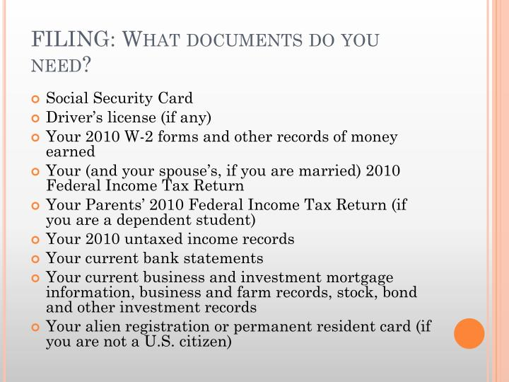 FILING: What documents do you need?