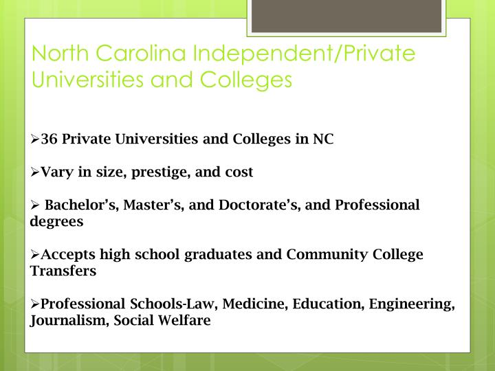 North Carolina Independent/Private Universities and Colleges