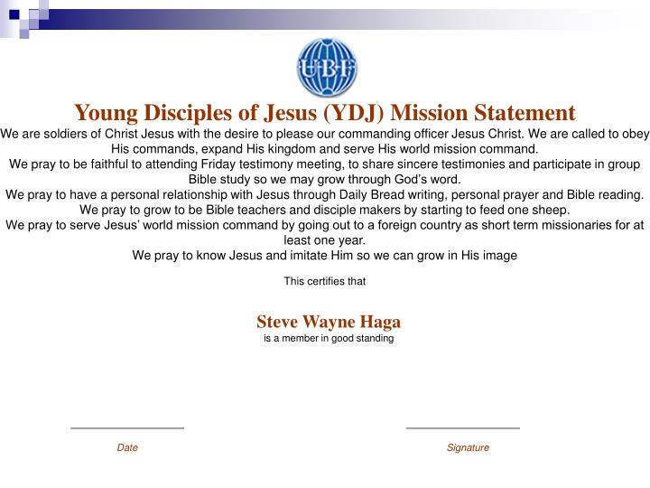 Young Disciples of Jesus (YDJ) Mission Statement