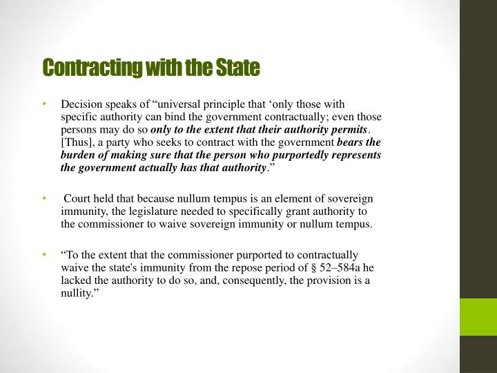 Contracting with the State