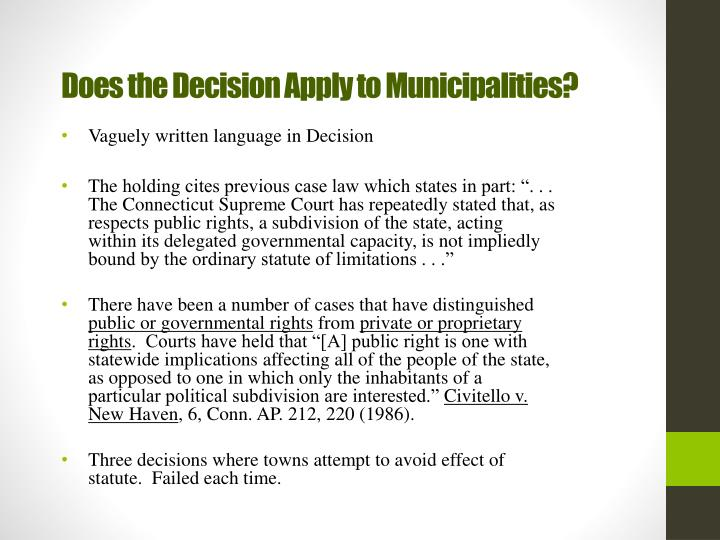 Does the Decision Apply to Municipalities?