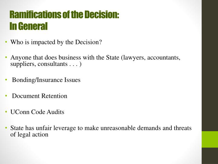 Ramifications of the Decision: