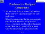 purchased vs designed components