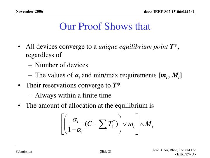 Our Proof Shows that