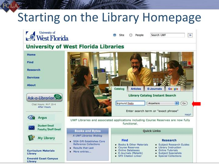 Starting on the Library Homepage
