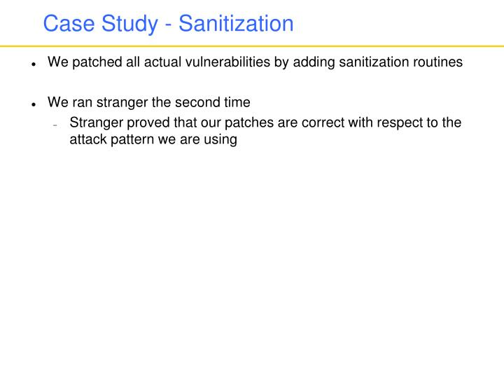 Case Study - Sanitization