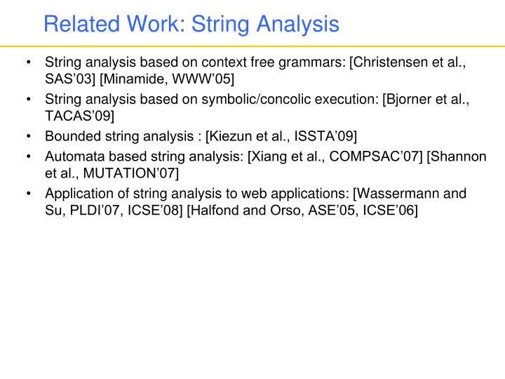 Related Work: String Analysis