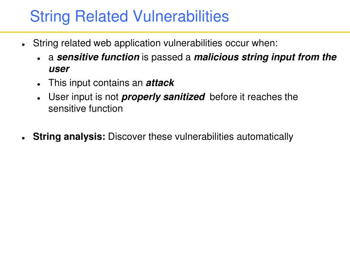 String Related Vulnerabilities