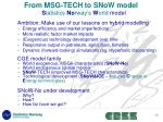 from msg tech to snow model