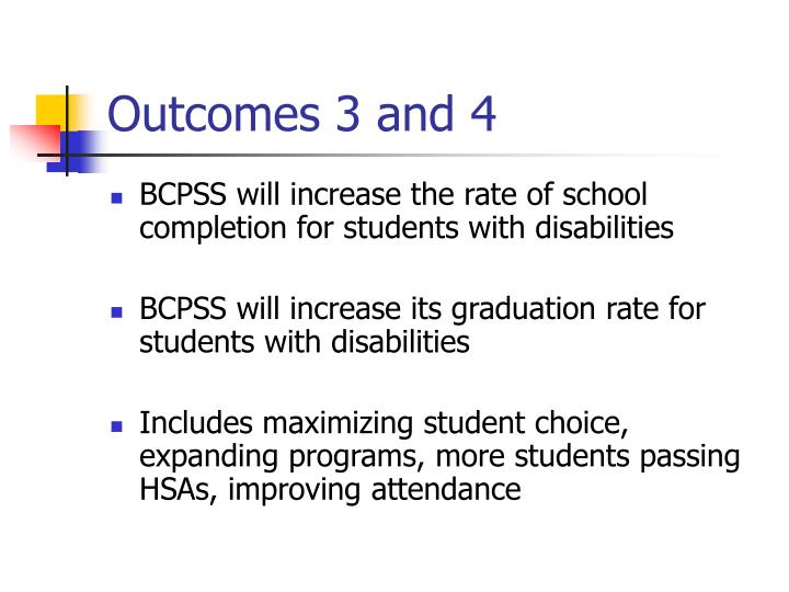 Outcomes 3 and 4