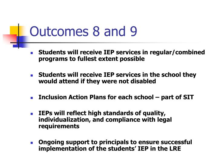 Outcomes 8 and 9