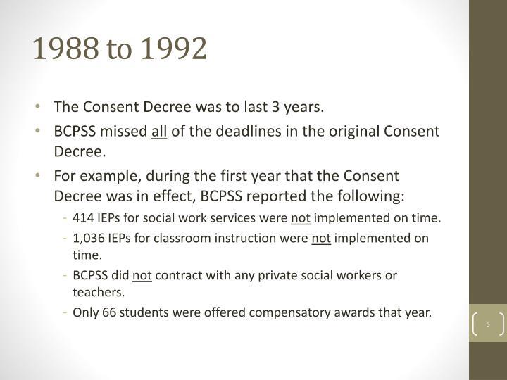 1988 to 1992