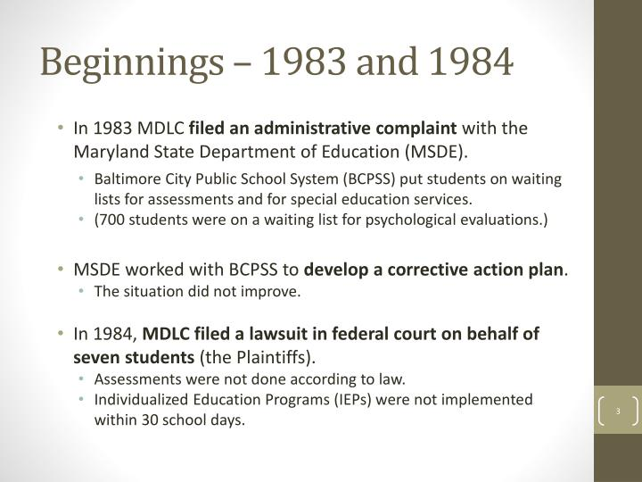 Beginnings 1983 and 1984