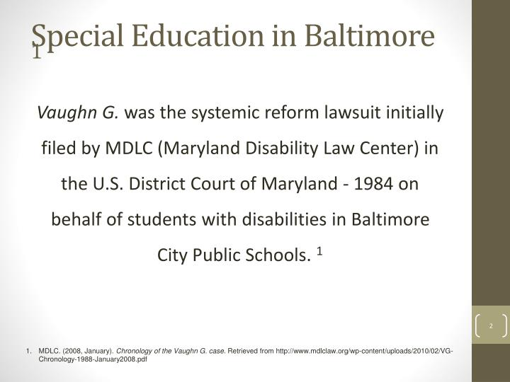 Special education in baltimore 1