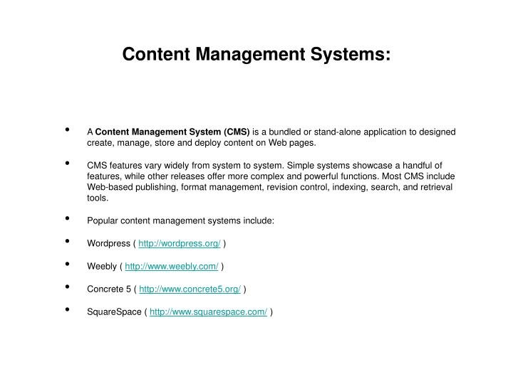 Content Management Systems: