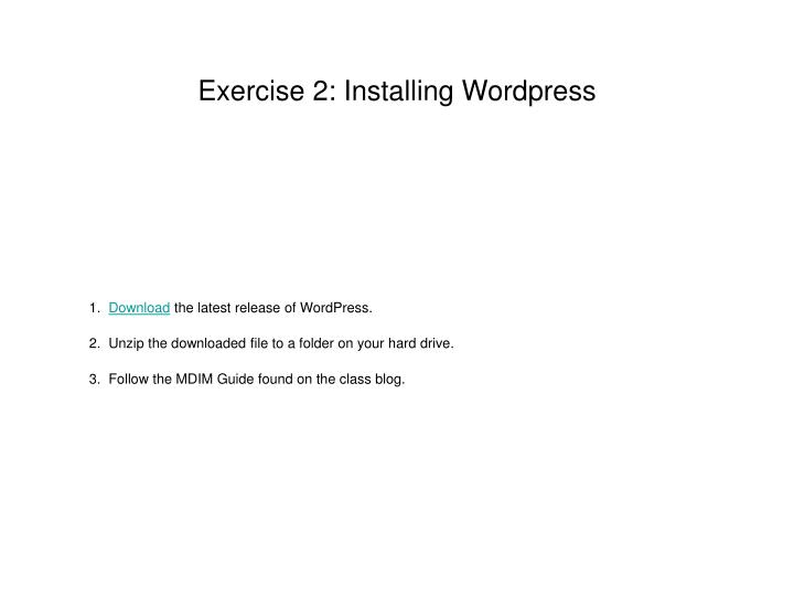 Exercise 2: Installing Wordpress