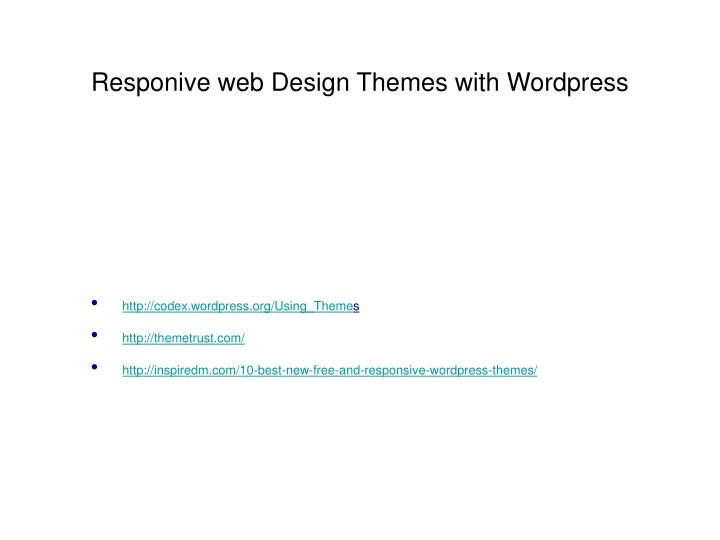 Responive web Design Themes with Wordpress
