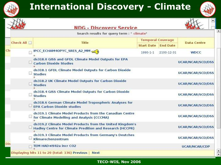 International Discovery - Climate