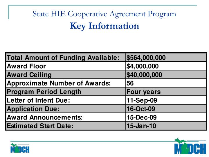 State hie cooperative agreement program key information