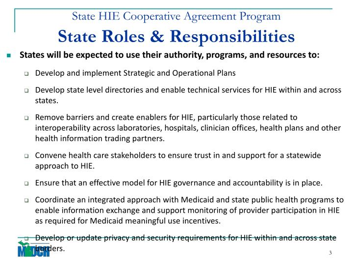 State hie cooperative agreement program state roles responsibilities