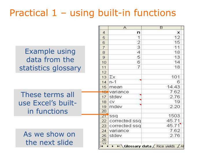 Practical 1 – using built-in functions