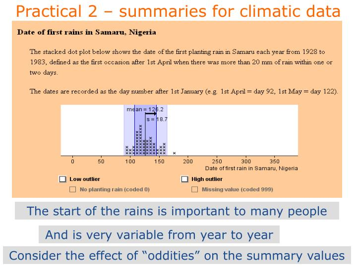 Practical 2 – summaries for climatic data