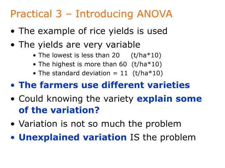 Practical 3 – Introducing ANOVA