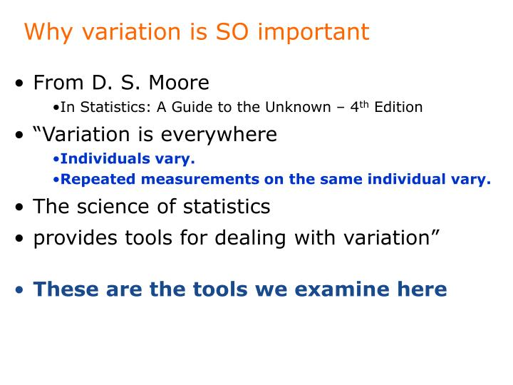 Why variation is SO important
