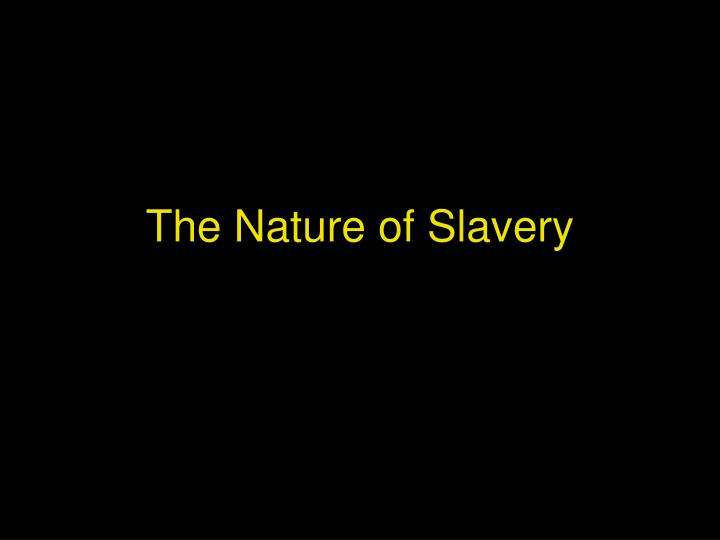the nature of slavery n.