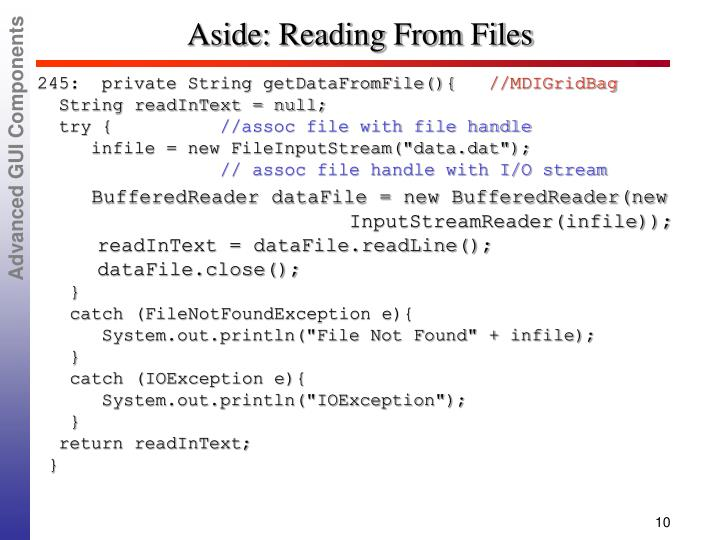 Aside: Reading From Files