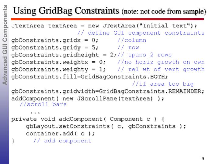 Using GridBag Constraints
