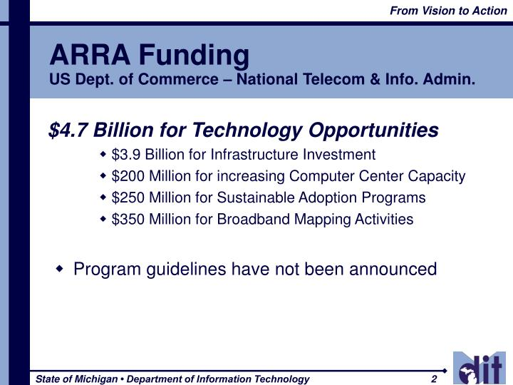 Arra funding us dept of commerce national telecom info admin