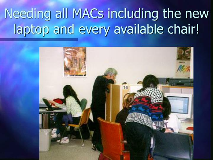 Needing all MACs including the new  laptop and every available chair!