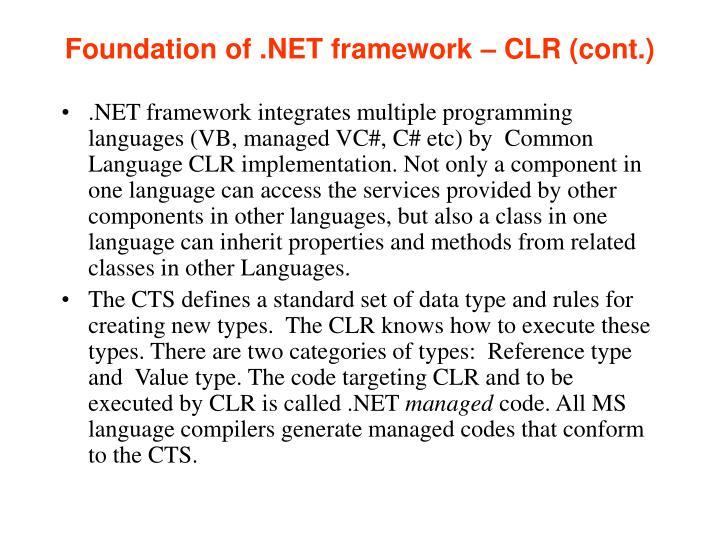 Foundation of .NET framework – CLR (cont.)