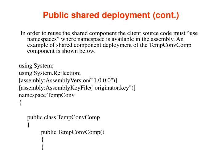 Public shared deployment (cont.)