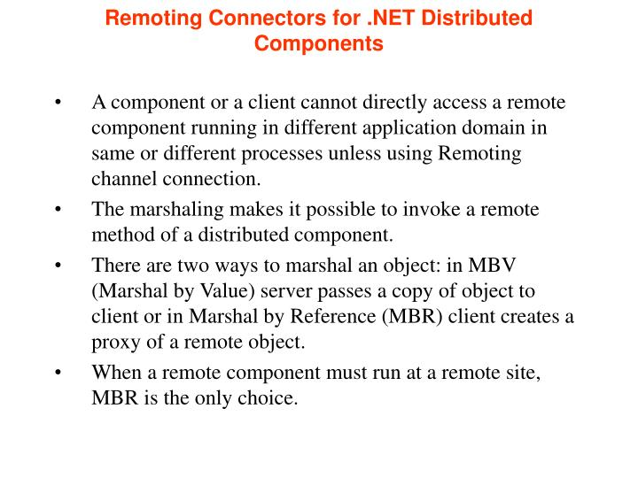 Remoting Connectors for .NET Distributed Components