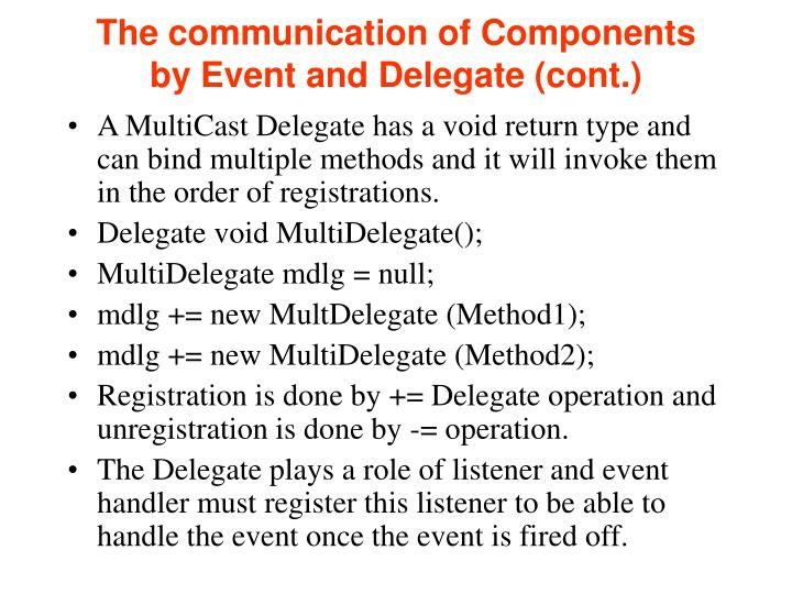The communication of Components