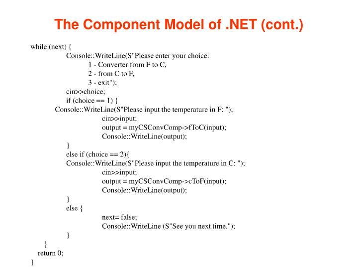The Component Model of .NET (cont.)