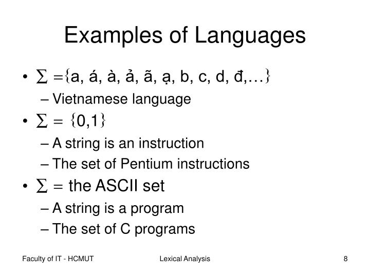 Examples of Languages