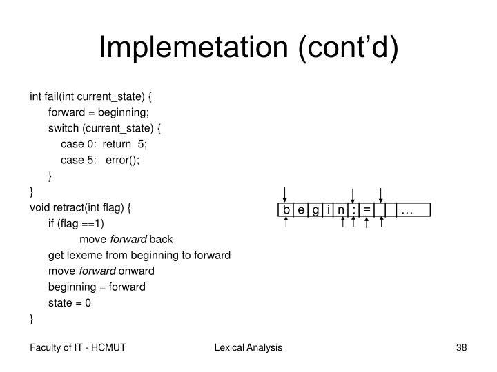 Implemetation (cont'd)