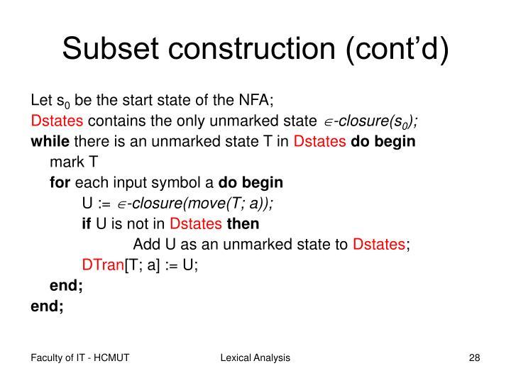 Subset construction (cont'd)