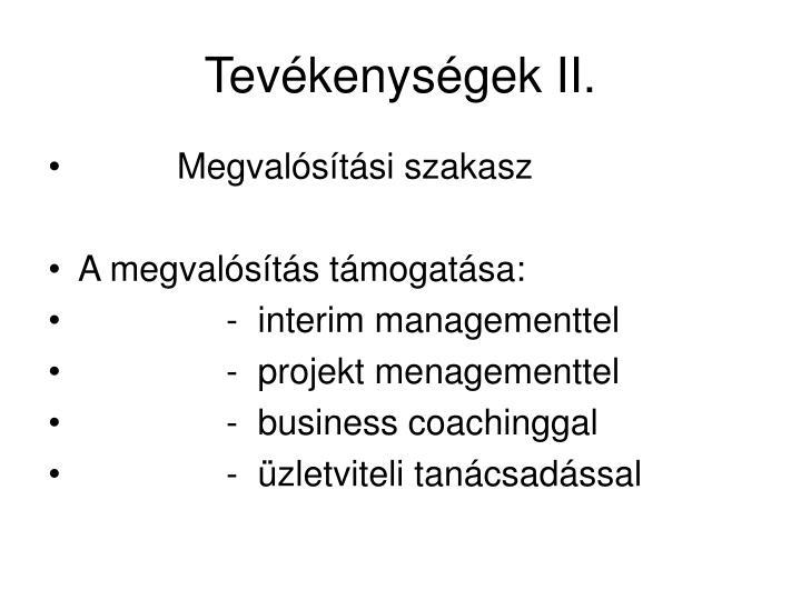 Tevékenységek II.