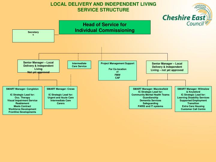 LOCAL DELIVERY AND INDEPENDENT LIVING SERVICE STRUCTURE