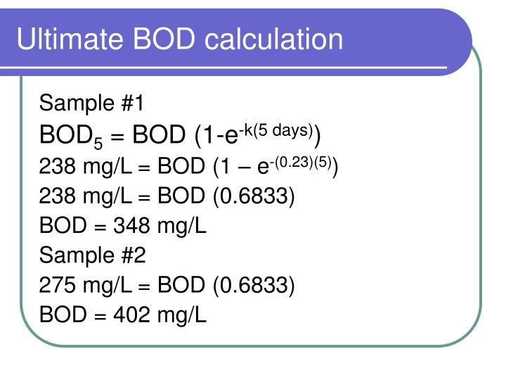Ultimate BOD calculation